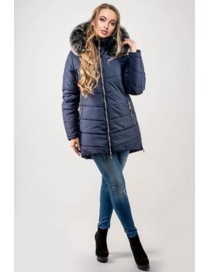 Зимняя молодежная куртка Бриана (синий серый мех)