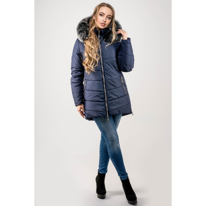 Зимняя куртка Бриана (синий серый мех) Оптовая цена