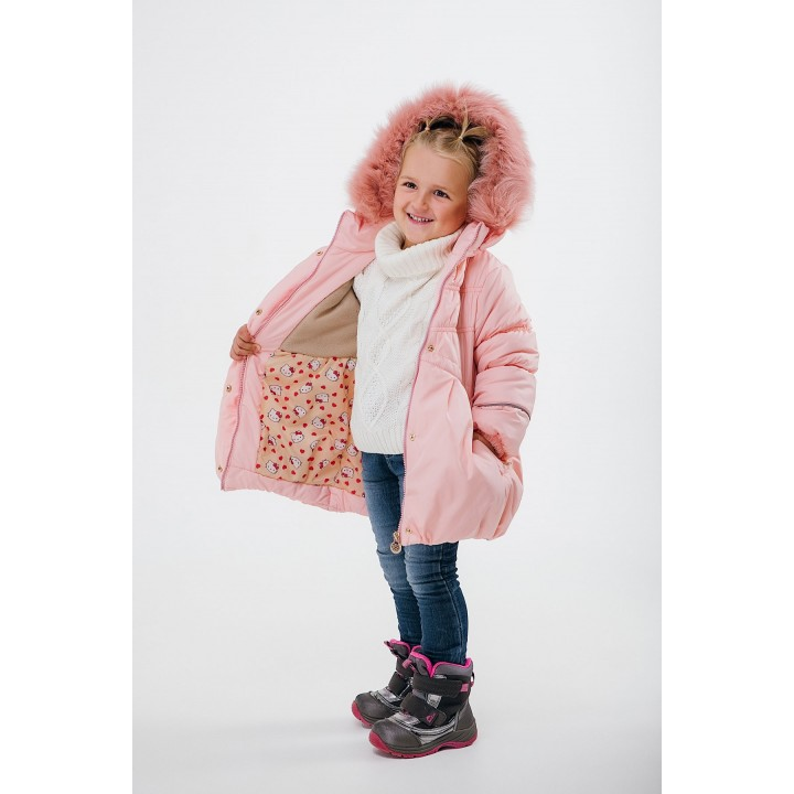 Детская зимняя куртка Бемби (пудра) Оптовая цена