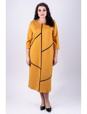 Женское платье большого размера Мери (горчичный)