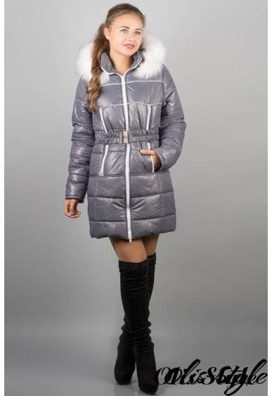 Зимняя куртка Дорри (серая белый мех)  ОПТОВАЯ ЦЕНА