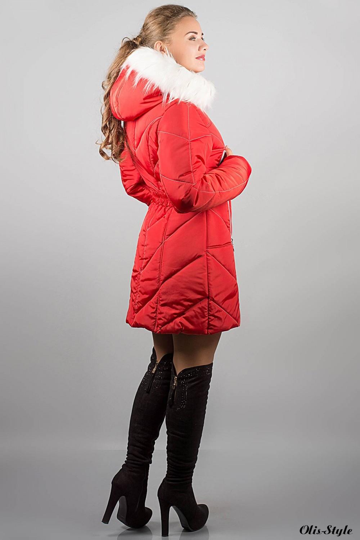 Зимняя куртка Дорри (красная белый мех)  ОПТОВАЯ ЦЕНА