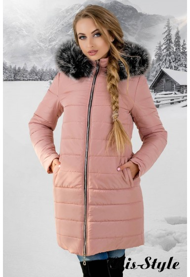 Зимняя куртка Флорида (розовая серый мех)  ОПТОВАЯ ЦЕНА