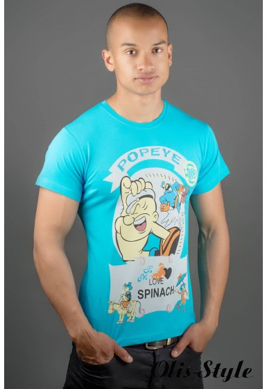 Мужская футболка Попей (голубой) оптовая цена