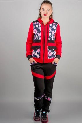 спортивный костюм Анжелика (красный цветы) Оптовая Цена