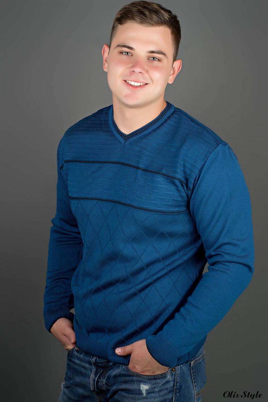 Мужской свитер Стас (голубой) оптовая цена