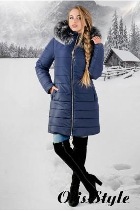 Зимняя куртка Флорида (синяя серый мех)  ОПТОВАЯ ЦЕНА
