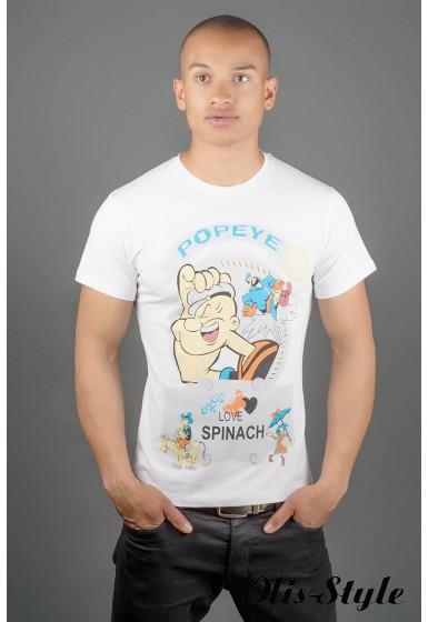Мужская футболка Попей (белый) оптовая цена