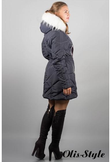 Зимняя куртка Дорри (синяя белый мех, белая отстрочка)  ОПТОВАЯ ЦЕНА