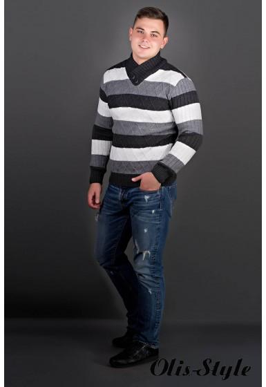 Мужской свитер Рубин полоска (черный) оптовая цена