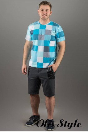 Мужская футболка Лаки (бирюза клетка) оптовая цена