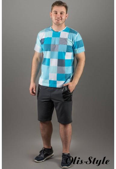 Мужская футболка Лаки (бирюза клетка)