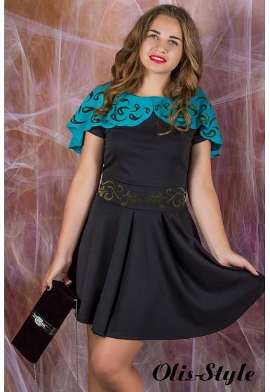 Платье Мадонна (черное с бирюзой) оптовая цена