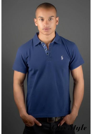 Мужская футболка Поло (синий) оптовая цена