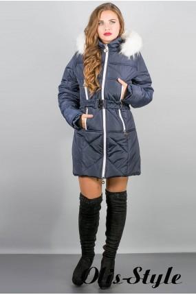 Зимняя куртка Дорри (синяя белый мех,синяя отстрочка) Оптовая цена