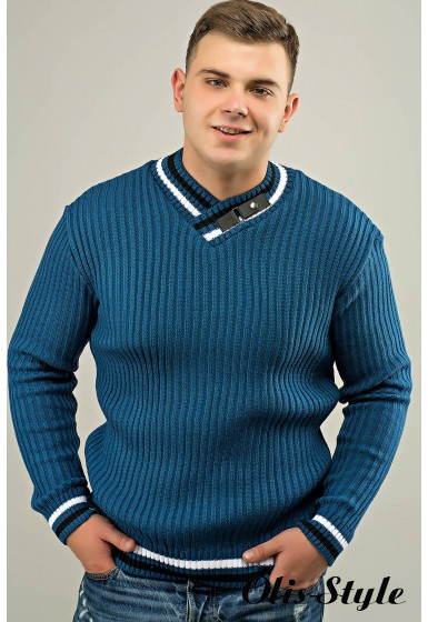 Мужской свитер Отто (бирюза) оптовая цена