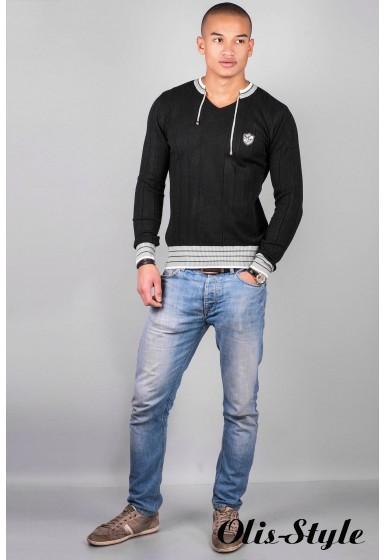Мужской свитер 103 (черный со шнурком )   оптовая цена